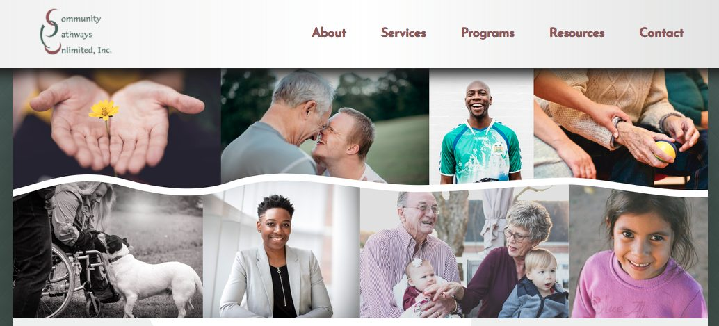 A photo that shows the Community Pathways Unlimited website. There is a banner of 8 images of people smiling and interacting with each other and the cameras.