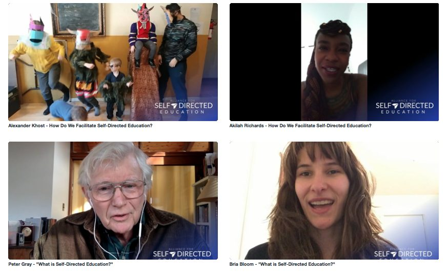 Image that shows 4 different screenshots of videos from Alliance4SDE's Vimeo channel. The videos are about how people facilitate SDE, and what SDE means to them